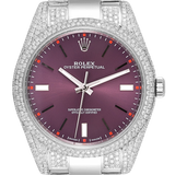 Rolex Watch Rolex Oyster Perpetual 39 Stainless Steel Red Grape Custom Micro Diamond Set 114300