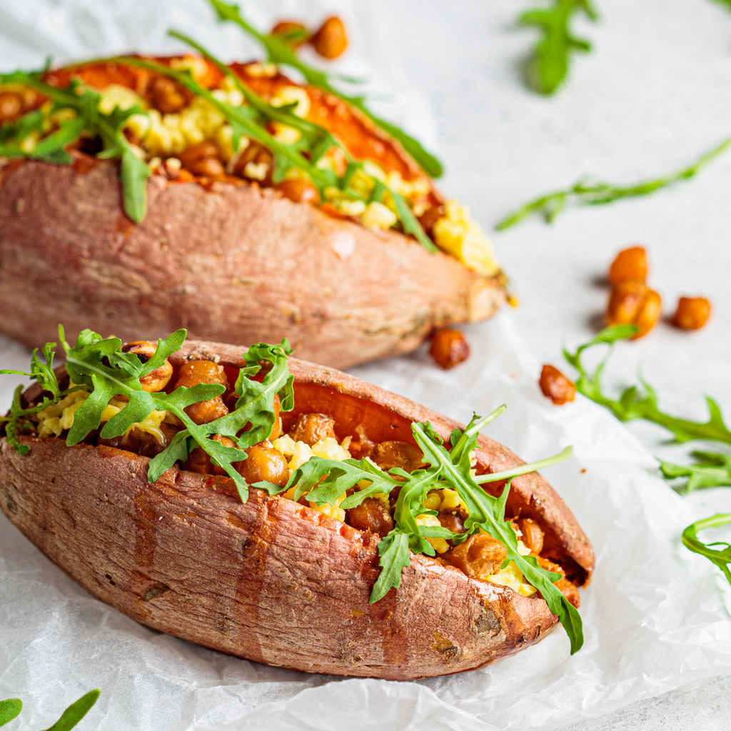 Curried Chilli Chickpea Jacket Sweet Potatoes