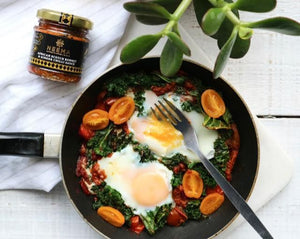 Spicy Baked Eggs with Neema Scotch Bonnet & Ginger Chilli Paste