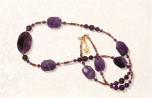 Amethyst necklace with large faceted ovals - 3002N