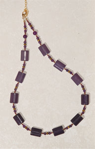 "Amethyst ""pillow-cut"" stone necklace - 3006N"