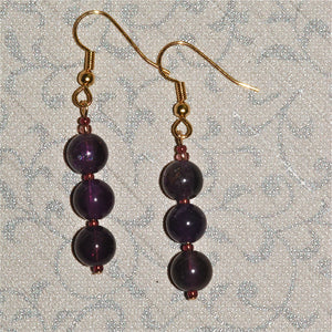 Amethyst '3-rounds' earrings