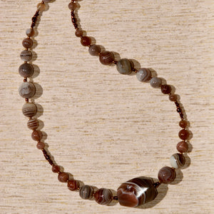 Botswana Agate Necklace with 1 large nugget - 3037N