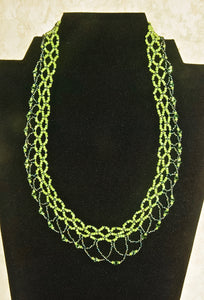 Green Beaded Lace Necklace - N5004