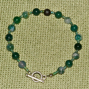Moss Agate Bracelet with Lava Stone - 1003ABas