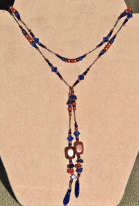 Deep Red and Cobalt Blue Glass Lariat with Red Creek Jasper Stones #N5002