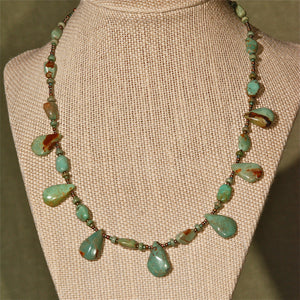 Green Turquoise Necklace with drops, 15""