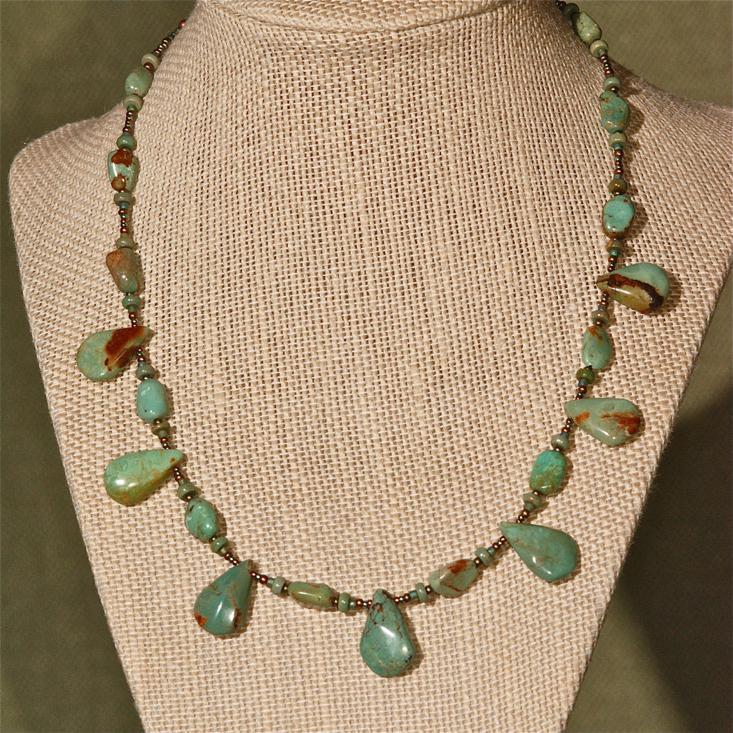 Green Turquoise Necklace with drops, 15