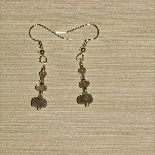 Labradorite Earrings with rondel drop