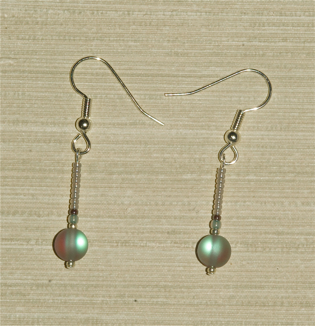 Labradorite Earrings with Round Drop