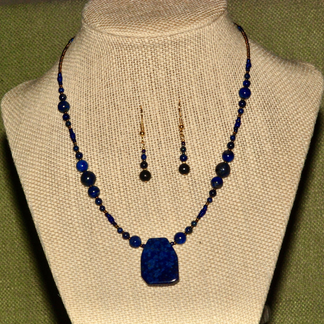 Lapis Necklacet - N7001 and Earrings - ER7001