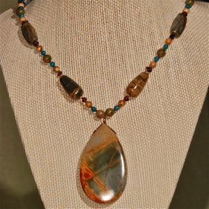 Energy Surround Necklace with Red Creek Jasper Pendant