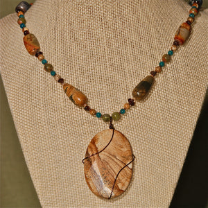 Energy Surround necklace with picture Jasper pendant - 3033ESN