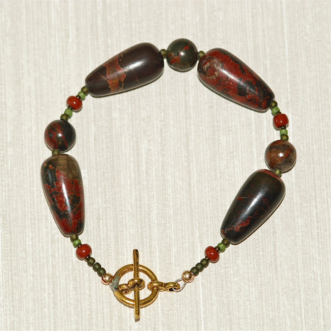 Red Creek Jasper Bracelet with dark red butterfly pattern - 2124B