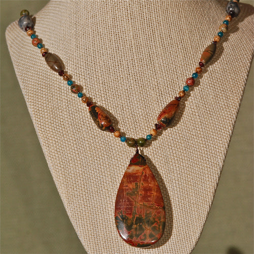 Energy Surround Necklace with Red Creek Jasper pendant - 3035ESN
