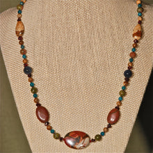 Energy Surround Necklace with Red Creek Jasper in-line oval focal piece - 3039ESN