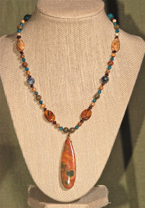 Energy Surround Necklace with Red Creek Jasper Pendant - 3037N