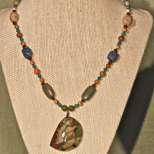 Energy Surround Necklace with Rhyolite pendant - 3038ESN