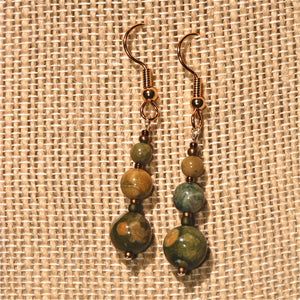 Rhyolite Earrings with 3 round beads