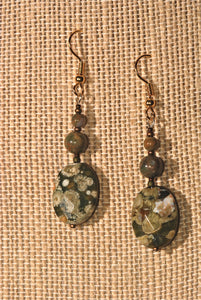Rhyolite Earrings with oval & 2 round beads