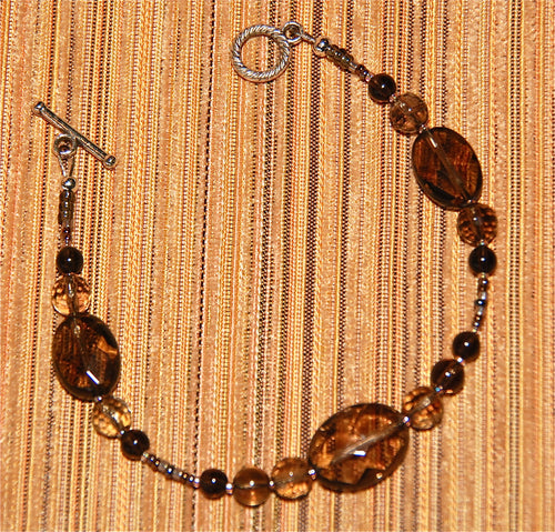 Smokey Quartz Bracelet with faceted beads - 2066B