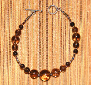 Smokey Quartz smooth rounds bracelet - 2067B