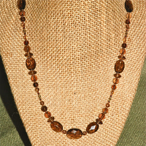 Smokey Quartz Necklace with faceted stones - 2115N