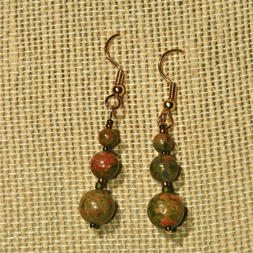 Unakite Earrings with 3 round beads