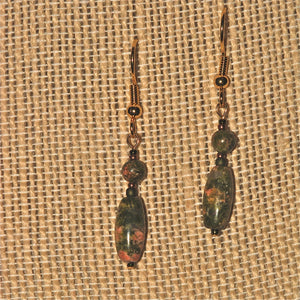 Unakite 'barrel drop' Earrings
