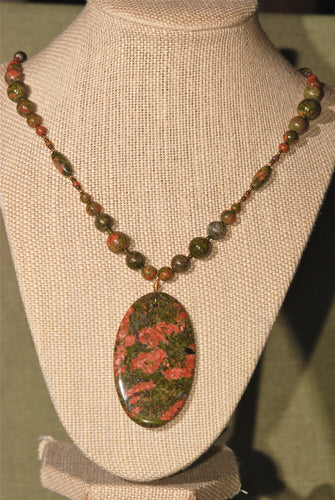 Unakite long necklace with large oval pendant - 3030N