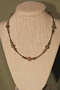 Unakite necklace with rounds in groups of 5, 15""