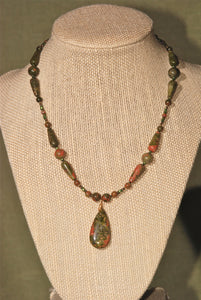 Unakite necklace with tear drop pendant - 2119N
