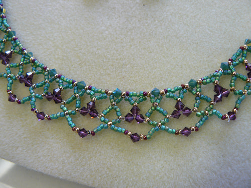 Aqua and Purple Beaded Lace - 5001N