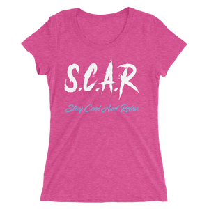 "S.C.A.R Logo Women's T-Shirt ""Vice City II"" - Fuscia/White/Blue"