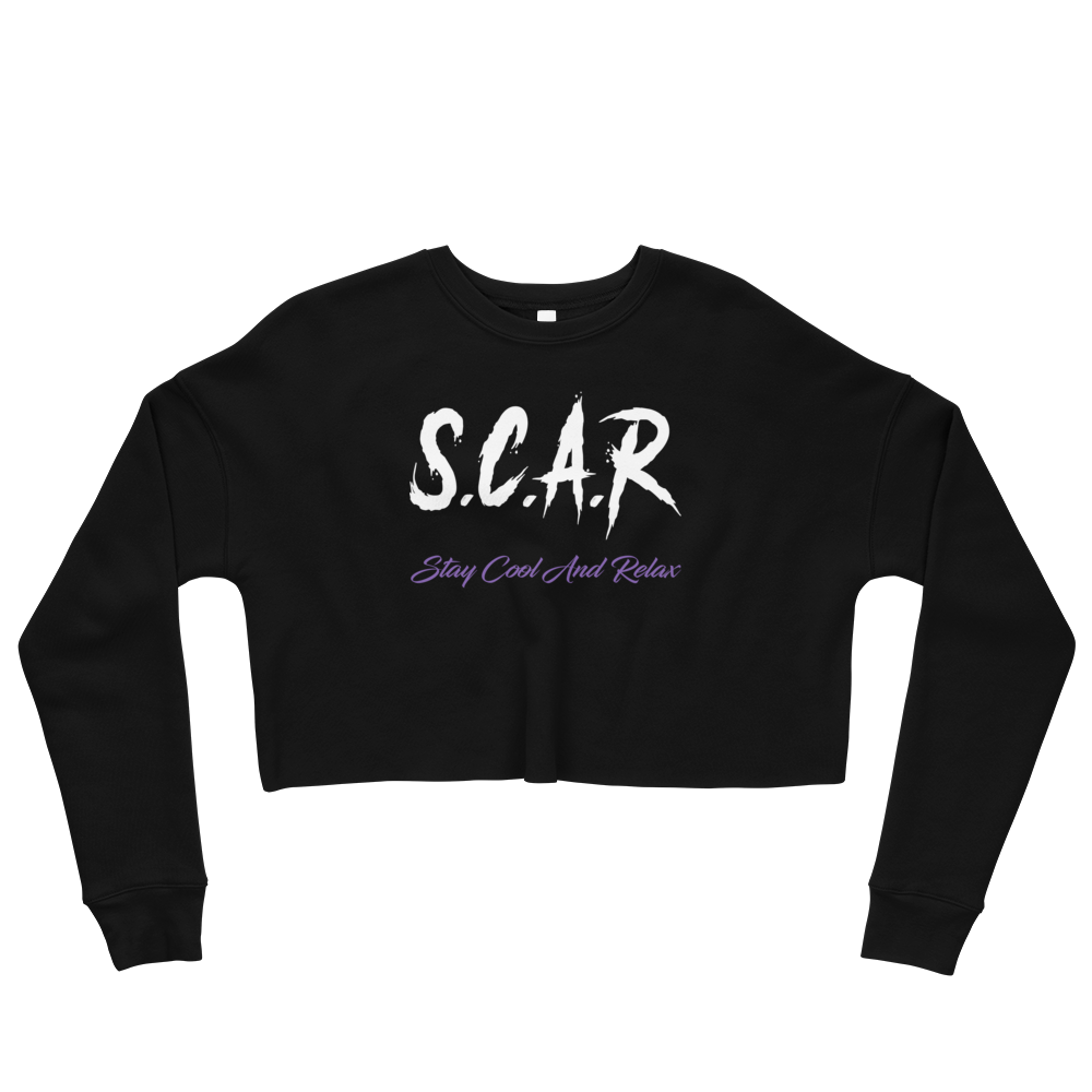 S.C.A.R Logo Crop Sweatshirt - Black/White/Purple