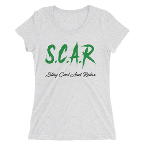 S.C.A.R Logo Women's T-Shirt - White Fleck Triblend/Green