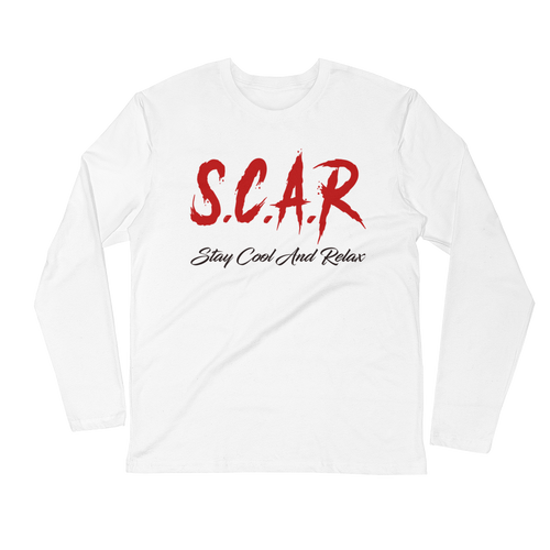 S.C.A.R Logo Long Sleeve Fitted Crew - White/Red