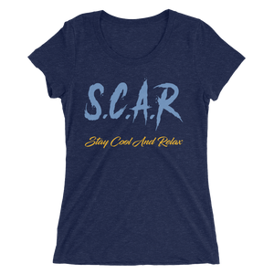 "S.C.A.R Logo Women's T-Shirt ""Grizzly Edition"" - Navy/Light Blue/Gold"