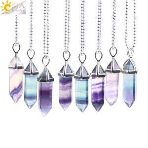 Fluorite Necklace Pendant Natural Gem Stone