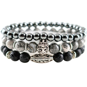 Natural Stones Hematite Lava Handmade Beaded Men Bracelets Lion Charm