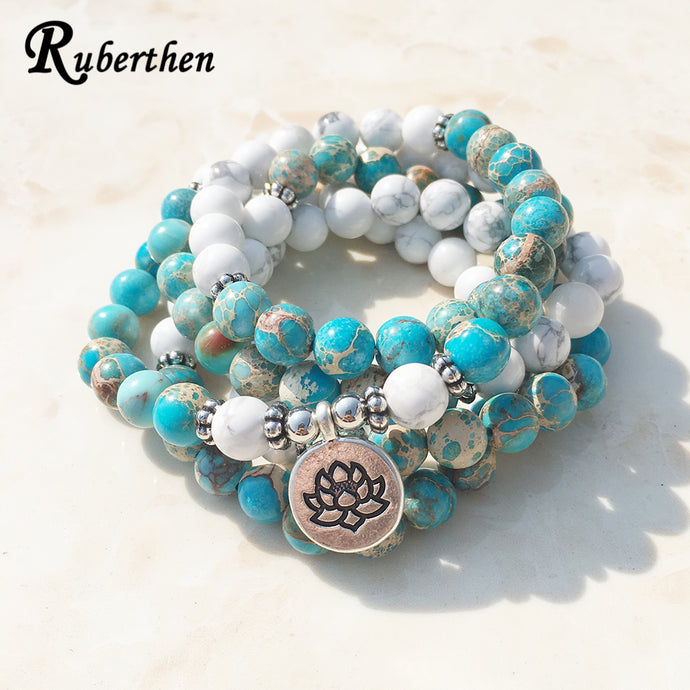 Ruberthen Fashion Design Howlite Natural Stone Mala Bracelet