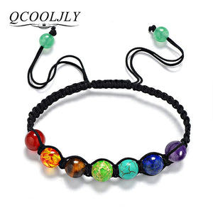7 Colorful Natural Stone Beads Crystal Chakra Bracelet
