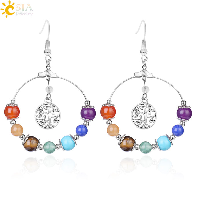 7 Chakra Tree of Life Women Drop Earrings