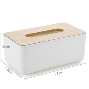 Plastic Tissue Box Oak Wooden Cover