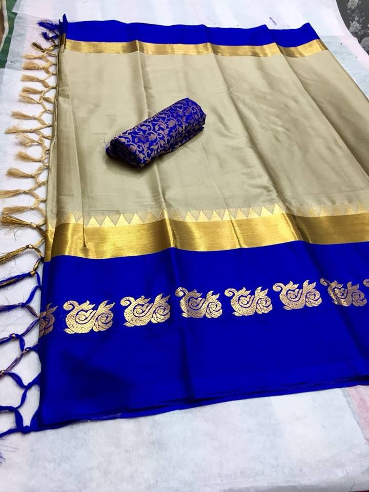 Party wear Cotton Silk Fabric With Gray Color & Blue Border Saree