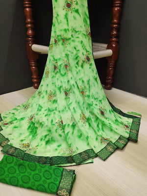 Designer Printed Saree With Havey Lace border Saree