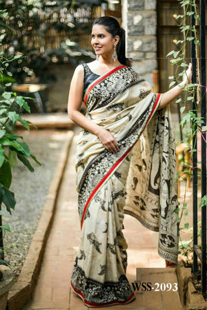 FESTIVAL INDIAN WEAR PRINTED COTTON SAREE WITH BLOUSE PIECE