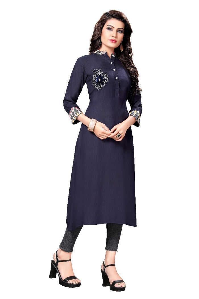 Nevy Blue Rayon Fabric A-line Kurtis for Women