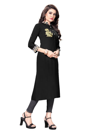 Black Rayon Fabric A-line  Kurtis for Women