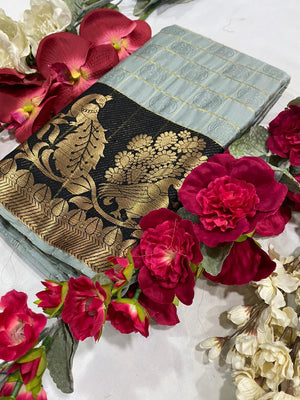Designer Cotton Silk Saree With Beautiful Peacock Border With Emboss Checks